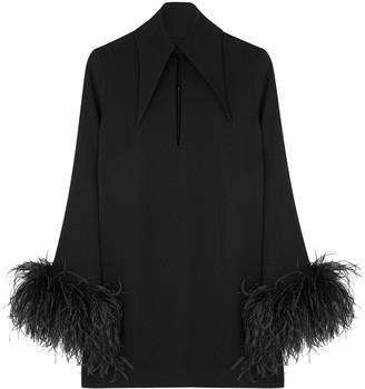 16Arlington 16 Arlington Michelle Black Feather-trimmed Mini Dress