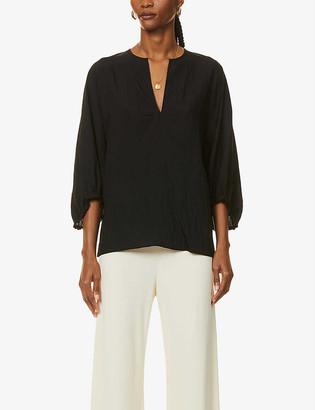 Vince V-neck oversized woven blouse