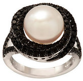Honora Cultured Pearl 10.0mm Button & 1.00 cttw Black Spinel Ring