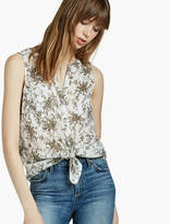 Lucky Brand Sleeveless Printed Tie Front Top