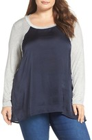 Bobeau Plus Size Women's Colorblock Mixed Media Baseball Top