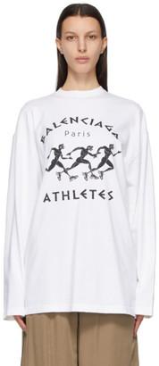 Balenciaga White and Black XL Fit Marathon Long Sleeve T-Shirt