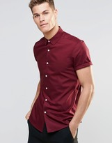 Asos Oxford Shirt In Burgundy With Short Sleeves In Regular Fit