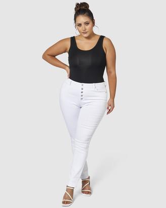 Indigo Tonic Foxy Button Skinny Jeans