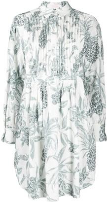 See by Chloe Pleated Pineapple Print Shirt Dress