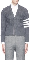 Thom Browne Stripe sleeve cashmere cable knit cardigan