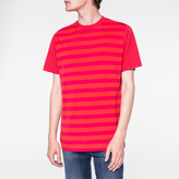 Paul Smith Men's Red And Fuchsia Stripe Cotton T-Shirt