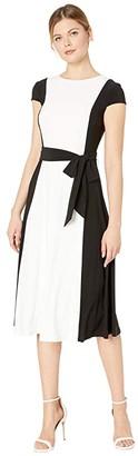 Lauren Ralph Lauren Murila Cap Sleeve Day Dress (Lauren White/Black) Women's Dress