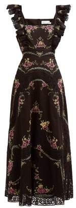 Zimmermann Allia Floral Cross-stitch Linen-blend Midi Dress - Womens - Black