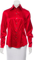 Magaschoni Silk Button-Up Top