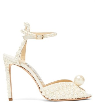 Jimmy Choo Sacora 100 Faux-pearl Embellished Satin Sandals - White