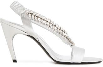 Roger Vivier Choc Real V Crystal-embellished Metallic Leather Slingback Sandals
