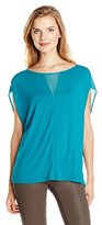 Adrianna Papell Women's Jersey Chiffon V-Neck Should Detail Top