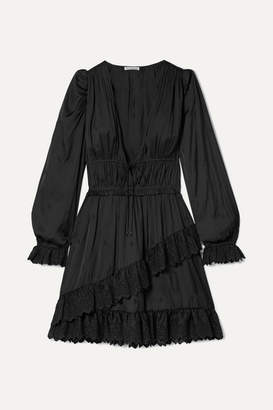 Ulla Johnson Millie Lace-trimmed Satin Mini Dress - Black