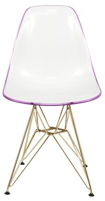 Tanis Plastic Solid Back Side Chair Dining Chair Orren Ellis Color: White Purple