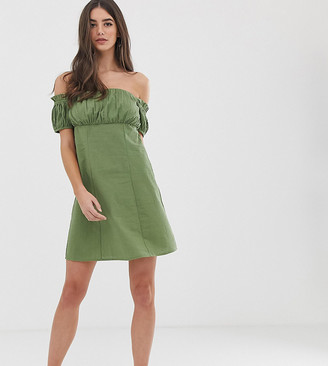 Asos Tall DESIGN Tall off shoulder mini sundress with ruched bust-Green