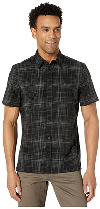 Calvin Klein Short Sleeve Stretch Cotton Casual Button-Down Shirt (Black) Men's Clothing