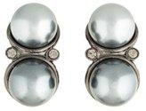Saint Laurent Double Faux Pearl & Crystal Earrings