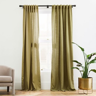 west elm European Flax Linen Curtain - Camo Olive