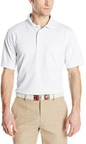 PGA TOUR Men's Golf Mini-Grid Solid Short Sleeve Polo Shirt with Pocket
