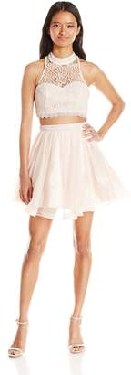 My Michelle Sequin Hearts Junior's Two Piece Short Prom Dress with Tulle Skirt and Lace Top
