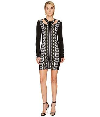Versace Cut Out Printed Long Sleeve Dress