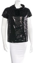 Robert Rodriguez Silk-Accented Sequin-Embellished Top