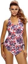 justbuy-us Women Reddish Leaf Print Halter Tankini Swim Top Swimsuit Swimwear