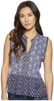 Lucky Brand Mix Print Peplum Top Women's Sleeveless
