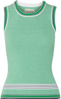 Tory Sport Striped Ribbed Coolmax Cotton-blend Tank - Green