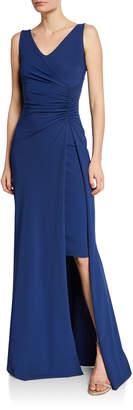 La Petite Robe V-Neck Sleeveless Side-Ruched Gown w/ Slit