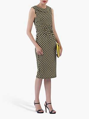 Jolie Moi Roll Collar Sleeveless Shift Dress, Yellow/Multi