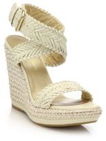 Stuart Weitzman Elixir Braided Leather & Jute Wedge Sandals