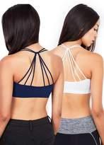 Anémone Anem Women's Soft Breathable Sports Bra (Navy Blue + White)