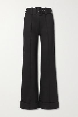 Victoria Victoria Beckham Belted Jersey Wide-leg Pants - Black