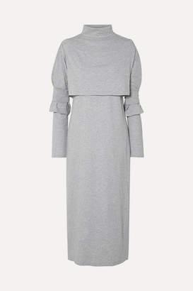 MM6 MAISON MARGIELA Layered Cotton-jersey Turtleneck Midi Dress - Gray