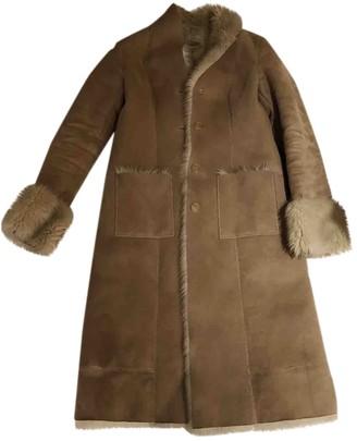 DKNY Beige Faux fur Coat for Women