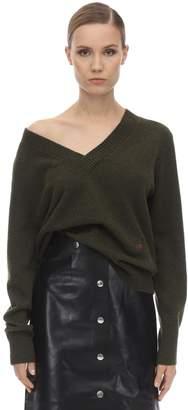 Victoria Beckham Double V Neck Cashmere Knit Sweater