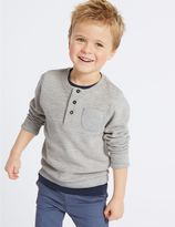 Marks and Spencer Cotton Rich Textured Sweatshirt (3 Months - 7 Years)