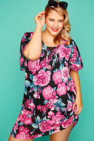 Yours Clothing Pink Floral Print Kaftan With Silver Sequins
