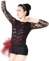 MiDee Full Lace Long Sleeves Leotard Jazz Dance Summer Dresses Ballroom Dance Costume