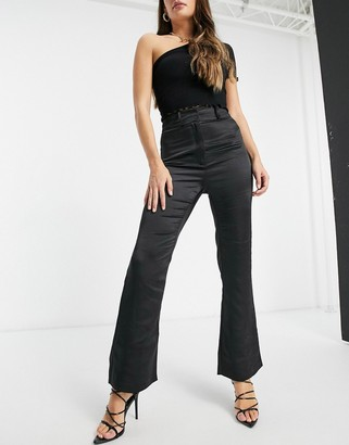 4th + Reckless satin slim flare trouser co-ord in black