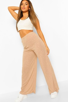 boohoo Petite Soft Knit Rib Wide Leg Trousers