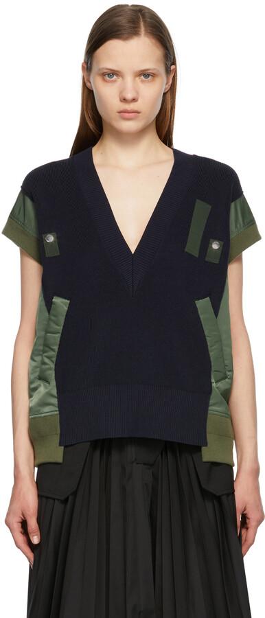 Sacai Navy & Khaki Knit V-Neck Pullover Vest