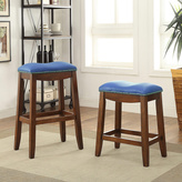Acme Delta Faux Leather and Oak Counter Height Stool (Set of 2)