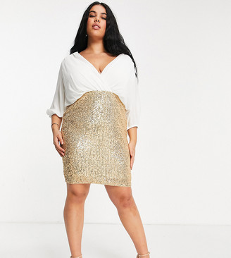 Jaded Rose Plus wrap blouse 2 in 1 sequin skirt dress in white and gold