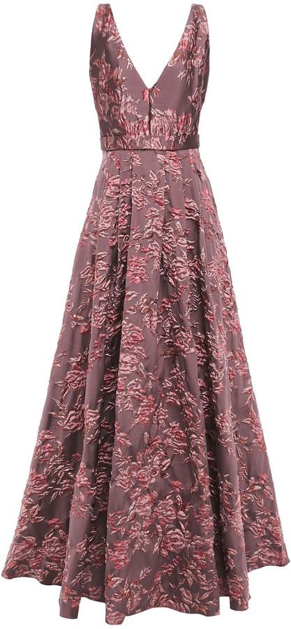 Badgley Mischka Pleated Metallic Brocade Gown