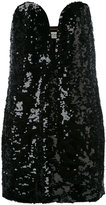 Saint Laurent sequin strapless dress - women - Silk - 40