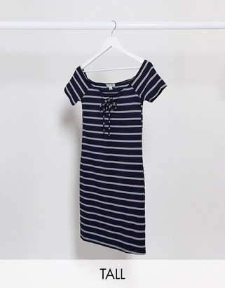 Brave Soul Tall tie front striped jersey dress in navy