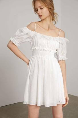 J.ING Maybelle White Eyelet Off-Shoulder Mini Dress